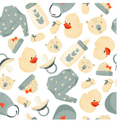 Seamless cute pattern baby stuff simple baby vector