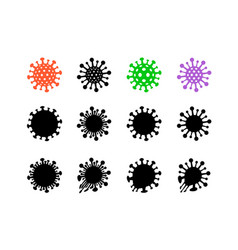 set bacteria virus icon and symbol vector image