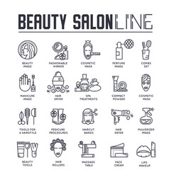 set beauty and spa salon thin line icons vector image
