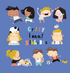 set cute cartoon diverse children boys and vector image