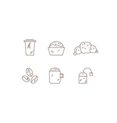 set linear coffee icons drinks icons vector image