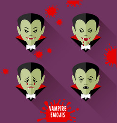 Set of vampire emojis for halloween vector