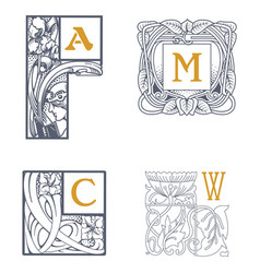 set of victorian ornaments vector image
