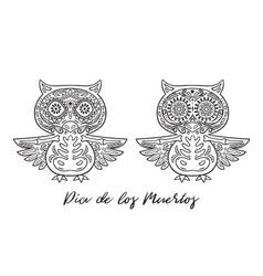 set owl sugar mexican skulls vector image
