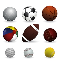 set sport balls on white background vector image