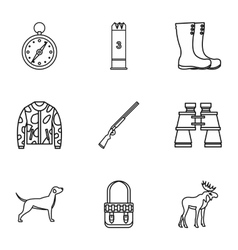 Shooting at animals icons set outline style vector image
