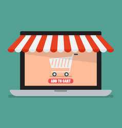 shopping online by laptop vector image vector image