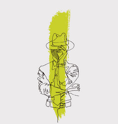 Sketchy single line drawing a man wearing a vector