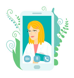 smartphone with virtual doctor woman flat style vector image