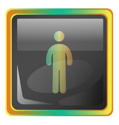 standing man grey icon with colorful details on vector image