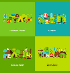 Summer camping concepts set vector