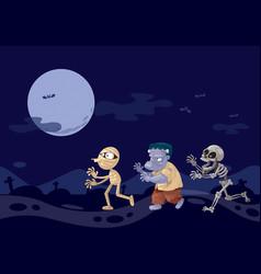 three ghosts cartoon frankenstein mummy and vector image