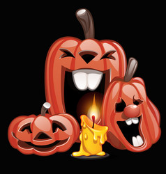 three pumpkins in the style of a holiday halloween vector image