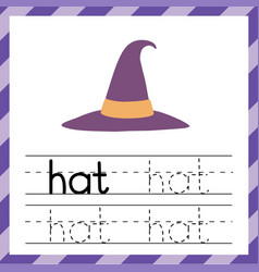 Tracing worksheet with word - hat phonic vector