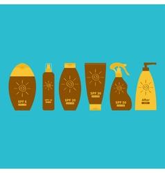 Tube of suntan oil cream After sun lotion Bottle vector