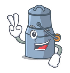 two finger milk can character cartoon vector image