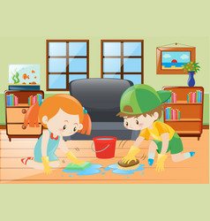 two kids cleaning floor at home vector image