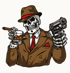 Vintage colorful concept skeleton gangster vector