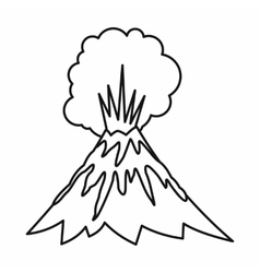 Volcano erupting icon outline style vector image