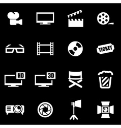 white cinema icon set vector image