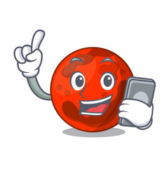 With phone mars planet character cartoon vector