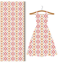 Women dress fabric with red mosaic vector