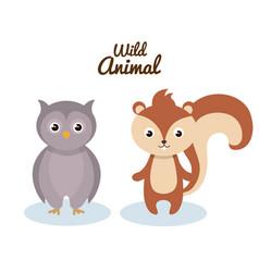 woodland animals wild icon vector image