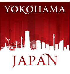 Yokohama japan city skyline silhouette red vector