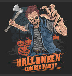 zombie halloween party pumpkin element vector image