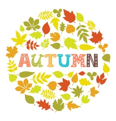 Autumn Round frame with leaves Background with vector image