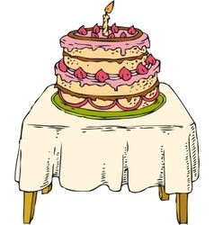Cake on the table vector image