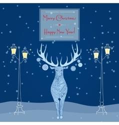 Christmas deer near street light Merry Christmas vector image vector image