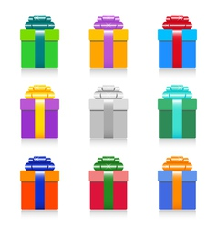 colorful gift box set vector image vector image