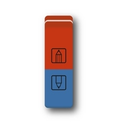 eraser red and blue vector image vector image
