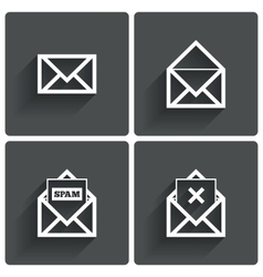 Mail icons Mail spam symbol Delete letter vector image
