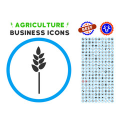 wheat ear rounded icon with set vector image vector image