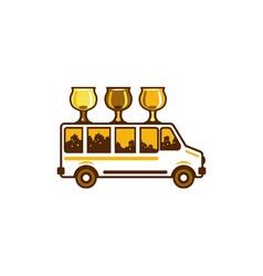 Beer Flight Glass Van Retro vector image vector image