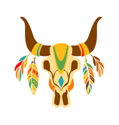 buffalo bull scull decorated with painting and vector image