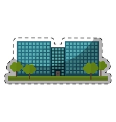 colorful city office building with trees vector image