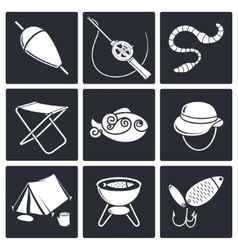 Fishing icon collection vector