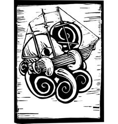 Kraken and Ship vector image vector image