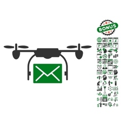 Mail Delivery Drone Icon With Bonus vector image