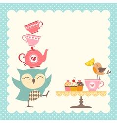 Owl tea time vector image vector image