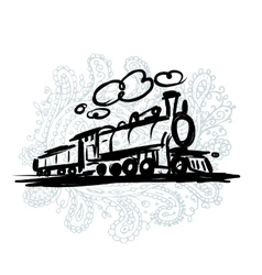 Speed train sketch for your design vector image