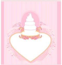 wedding cake card design vector image vector image