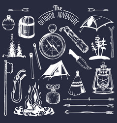camping sketched elements set of vintage vector image vector image