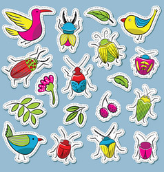 Cute and funny bugs with birds and plants vector