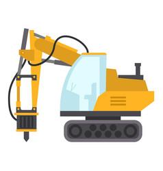 excavator hammer icon flat style vector image