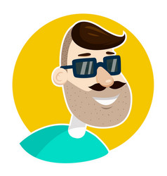 hipster man unshaved face in sunglasses vector image vector image