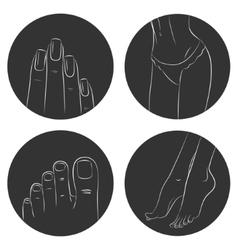 Manicure pedicure and bodycare concept Icon set vector image vector image